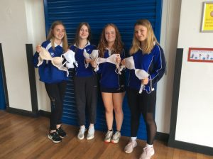 Girls from Burgate School got involved in the bra collection too
