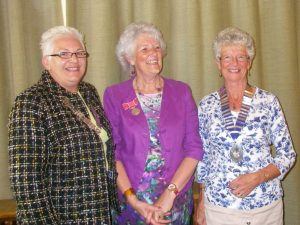 Reg Pres Jean, Elsie Normington and Stella Reynolds, President of SI Easter Ross.