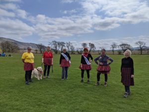 April 2021 SI SS R President Tina (L) with fellow SI Dunfermline members on Kiltwalk