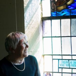 Committee chairperson Judith Ironside pictured in Christ Church at Spanish point following the dedication of the Johnny Burke Community Hall. Photograph by John Kelly.