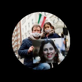 Richard Ratcliffe and Gabriella protest