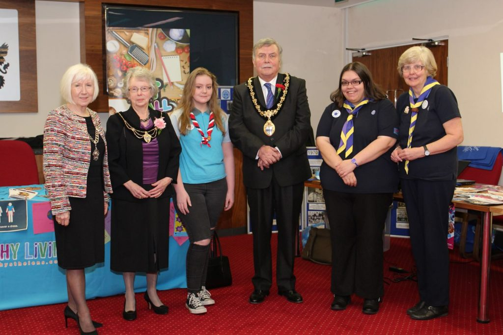 President Sandra and the Mayor and Mayoress meet St Helens Guide leaders