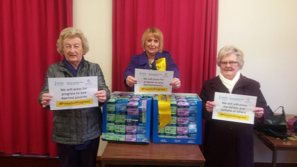 Anne Doreen and June are at the Hope Centre Foodbank delivering £75 worth of sanitary products for service users