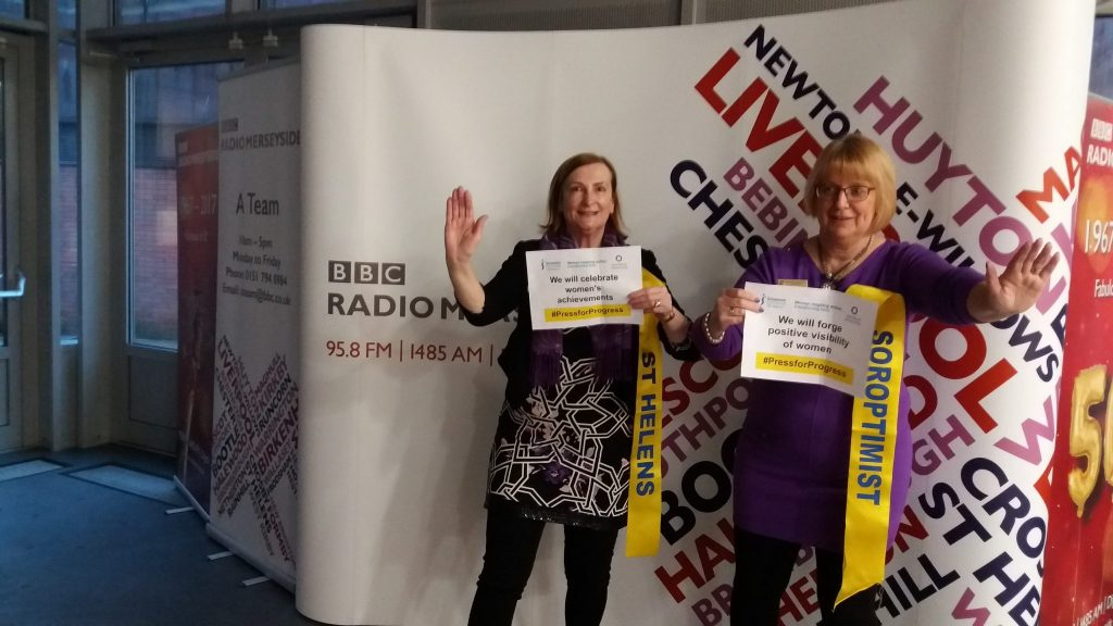 Pam and Anne at Radio Merseyside waiting to go on air