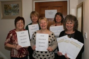 Kate Brade l(4th left) leads petition preparations with Jan Merralls, Heather Stern, Gabbi Babbs and Pauline Townsend