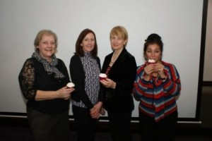 Speak Ann Ager (2nd left) with Stafford Soroptimists Caroline Bowers, Heather Stern and Maudie McHardy