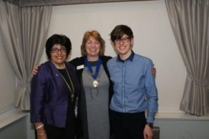 Dishi Attwood, past Midland Chase Region President, with President Alison Elsmore & Adam Walker from Oxfam