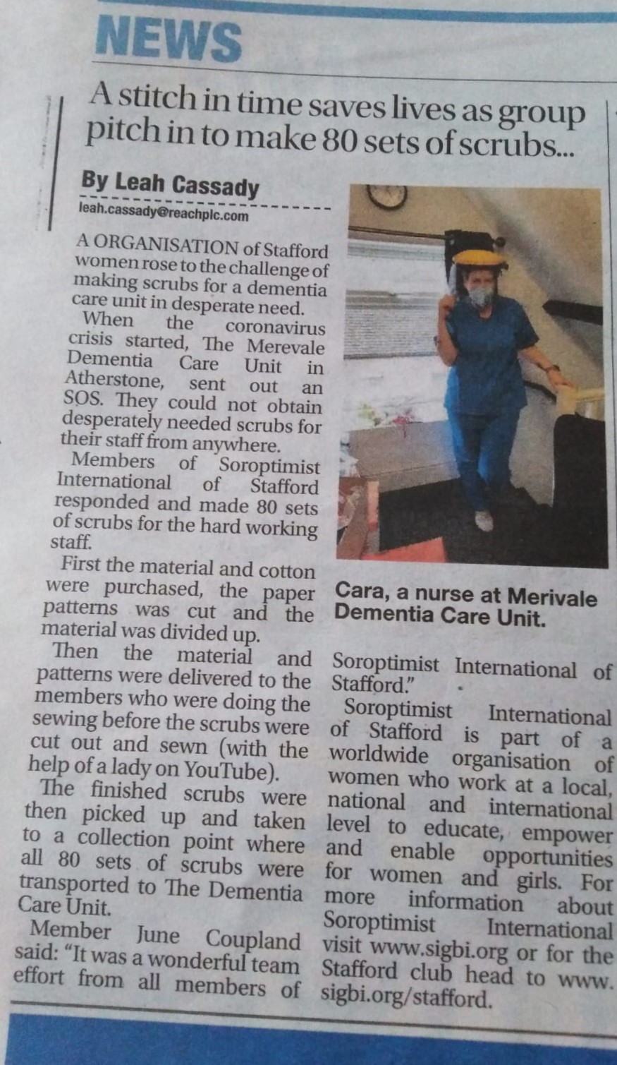 Newspaper article showing text and a picture of a nurse at Merivale Dementia care Unit wearing personal protective equipment made and donated by Stafford Soroptimists during the Covid-19 pandemic.