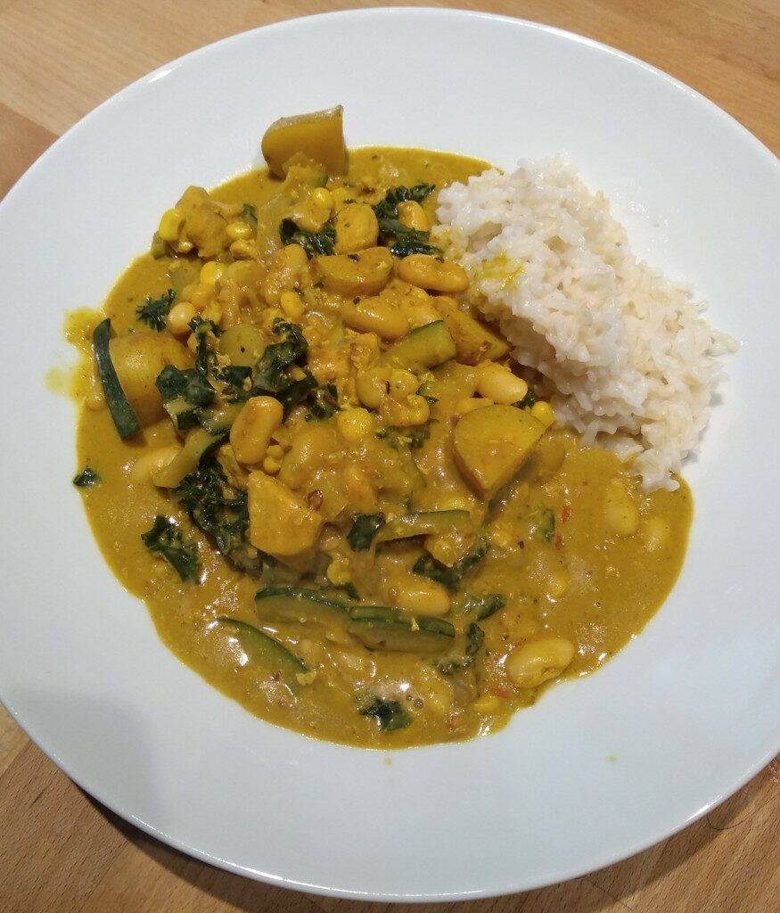 Curry and rice served on a white plate
