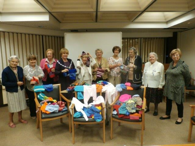 SI Swansea with SI Cwmbrans knits for Fish and Chip babies 2015