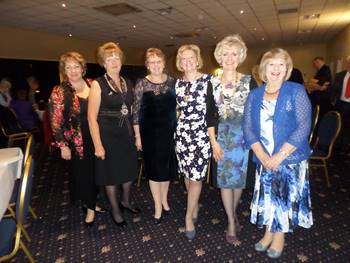SI Tiverton Dinner.  Regional President Kay and club presidents (LtoR): Sally Williams (SI Taunton), Christine Hunt (SI Brixham), Catherine Hannaford (SI St Austell), Daphne Dowsing (SI Tiverton, Regional President Kay and Sue Kelly (SI Weston Super Mare)  28 March 15