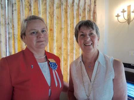 Speaker Professor Helen Young of ACROSS and Bath Club member with Gillian Horrigan Club President of Bath