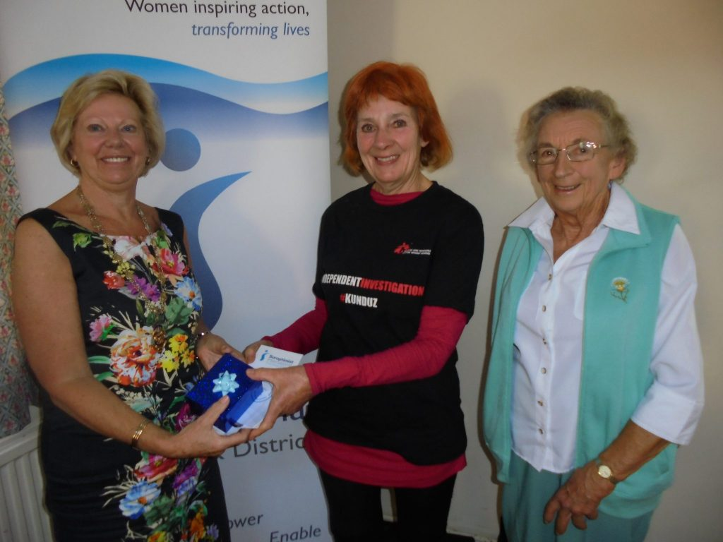 Regional President Daphne with Flowa from Medecins sans Frontieres, along with Jasmine Dawkins from SI Torquay