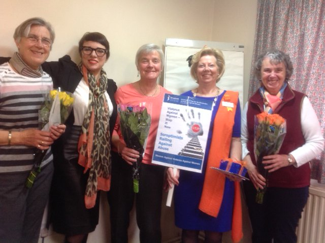 After her talk Tara gave roses to members of SI Weston-super-Mare who are organising the Railing Against Abuse rally