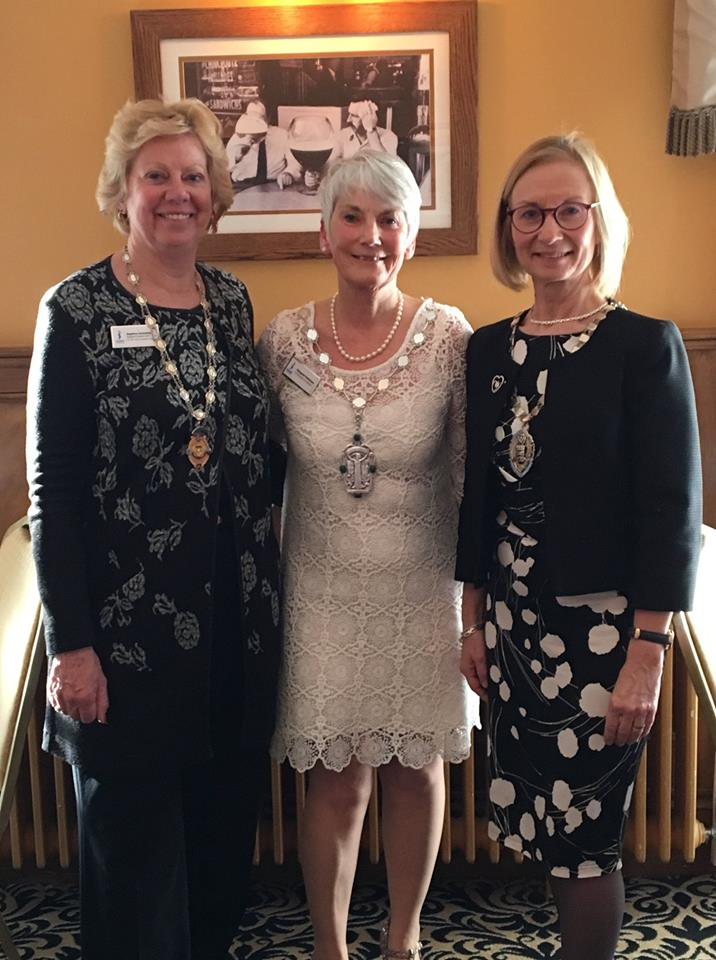 Left to right - Regional President Daphne Dowsing, SI Plymouth President Margaret Parkinson, SI Poole President Liz Rodgers at SI Plymouth & District 88th Charter lunch.