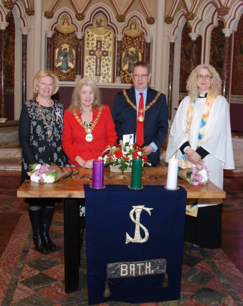 SI Bath hold an event to celebrate the centenary of the Vote for Women.  Regional President Dapne pictured with the Mayor of Bath, Cherry Beath and te Rev Jane Haslam.