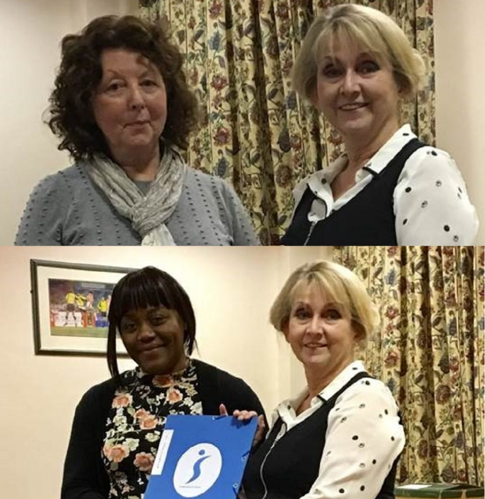 President Catriona Murray welcomes two new members, Sheelagh and Regina, to SI Cheltenham.  That's seven new members this year - congratulations!