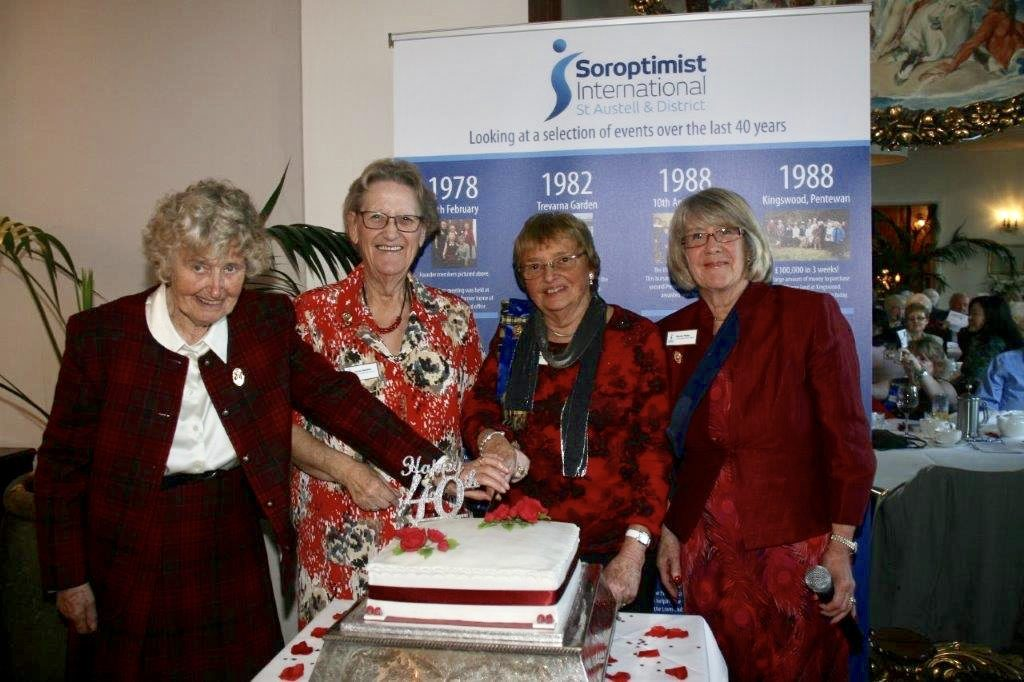 St Austell celebrates their 40th Anniversary. The four founder members, all past presidents are pictured here cutting the cake -  Jo Bennett, Carole Gardener, Heather Bishop and Wendy Plaice.