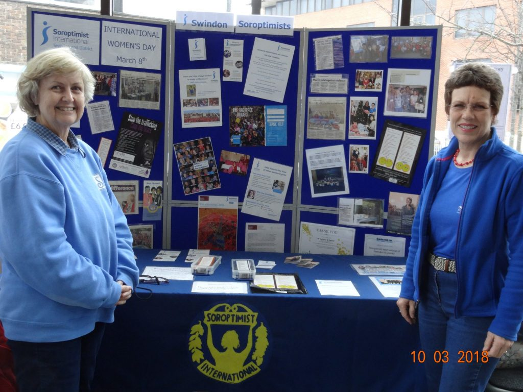 Valerie Nuttall and Lydia Cardew from SI Swindon at the Swindon Public Library manning the stand which is on display for 2 weeks to highlight International Women's Day