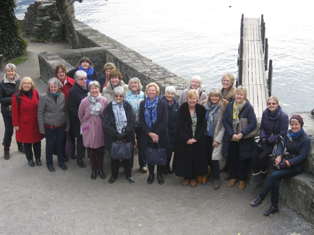 Soroptimists from seven Clubs in the SW&CI Region outside Chateau Chillon.