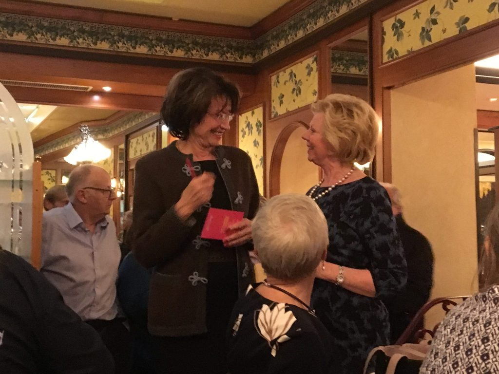 On the Friday evening, Sabine arranged an evening out at the Café du Centre where we had the local specialty, perch fillets.  Sabine Kinzer and Regional President Daphne Dowsing making their thank you speeches.