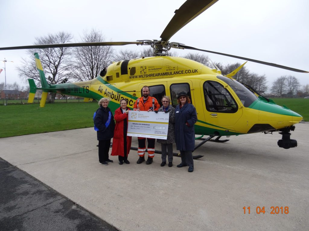 SI Swindon presenting a cheque for £1400 to Wiltshire Air Ambulance