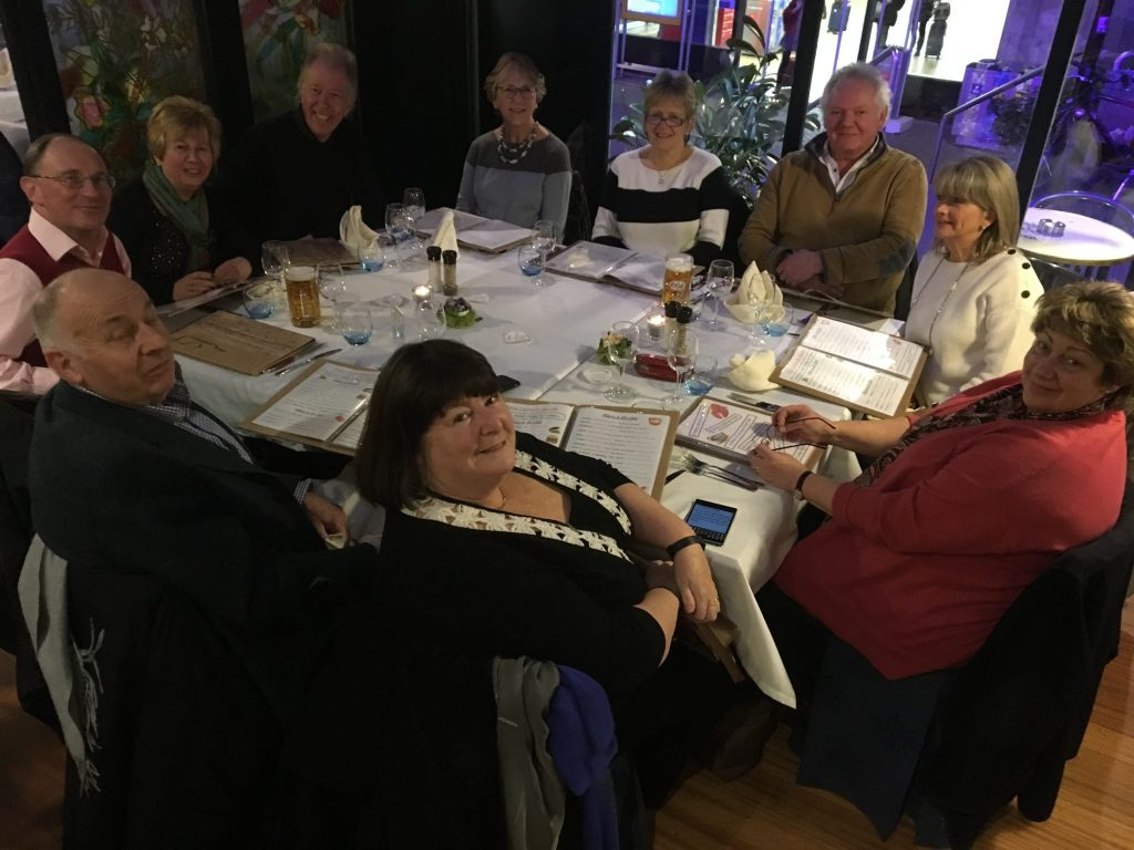 Members of SI Taunton and their Soroptimisters enjoying an evening meal.