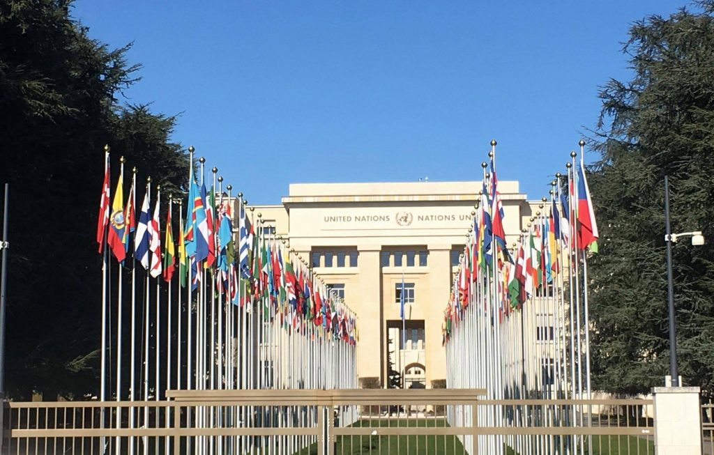 International flags on the approach to the Palais des Nations, the world's largest conference centre for international peace and security.