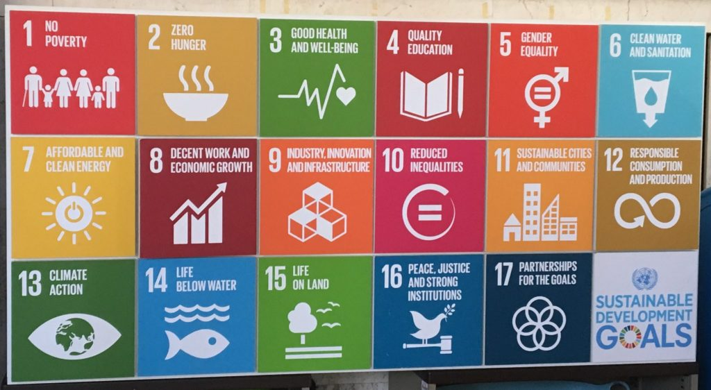 A reminder of the UN Sustainable Development Goals.