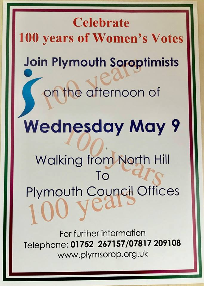 The poster announcing the Walk through Plymouth to celebrate 100 Women of the past century since female suffrage.
