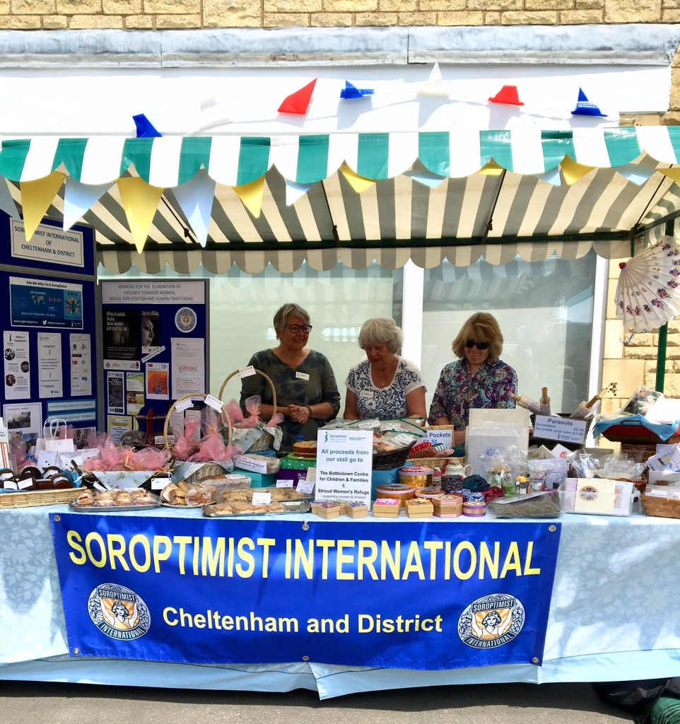 Members of SI Cheltenham at the Bishops Cleeve Street fair where they raised over £172 for their charities of the year.