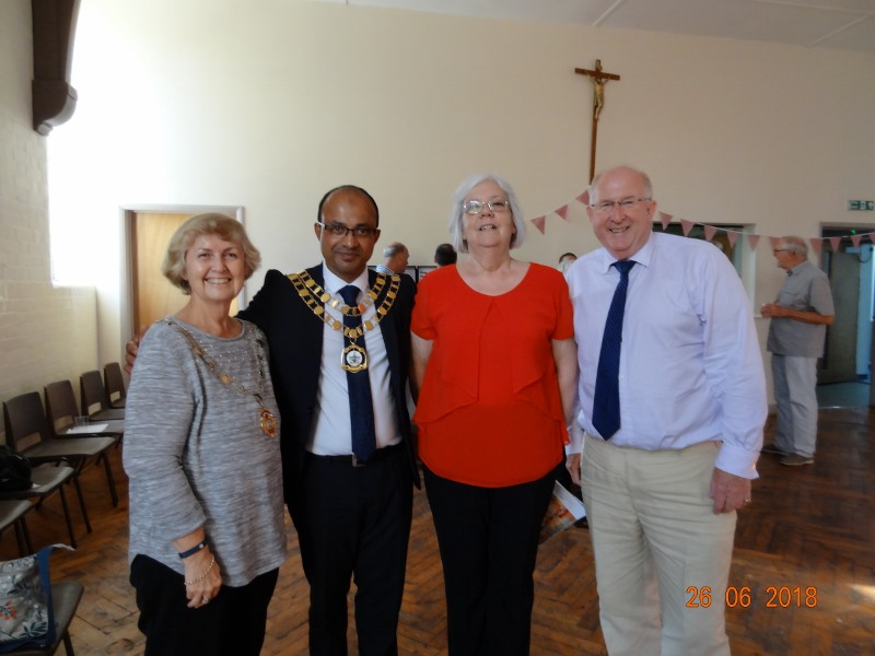 SI Swindon Soroptimists were invited to attend the 25 year Anniversary of the BIG Breakfast Club which they support by serving hot meals to the homeless.  Valerie and Angela pictured flanking Cllr Junab Ali, Mayor of Swindon.