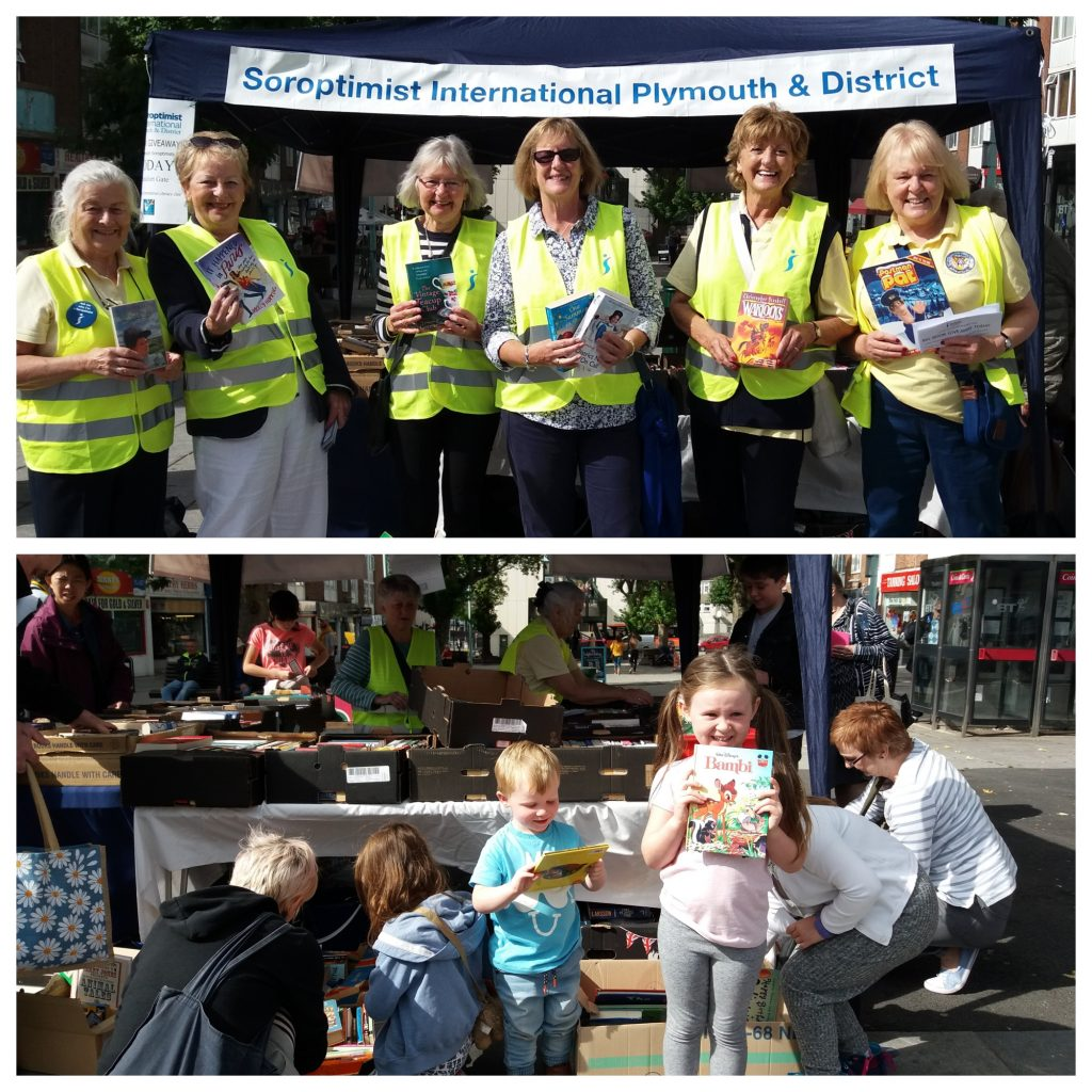 To celebrate International Literacy Day, Plymouth Soroptimists manned a book stand and encouraged shoppers to stop and select a free book.