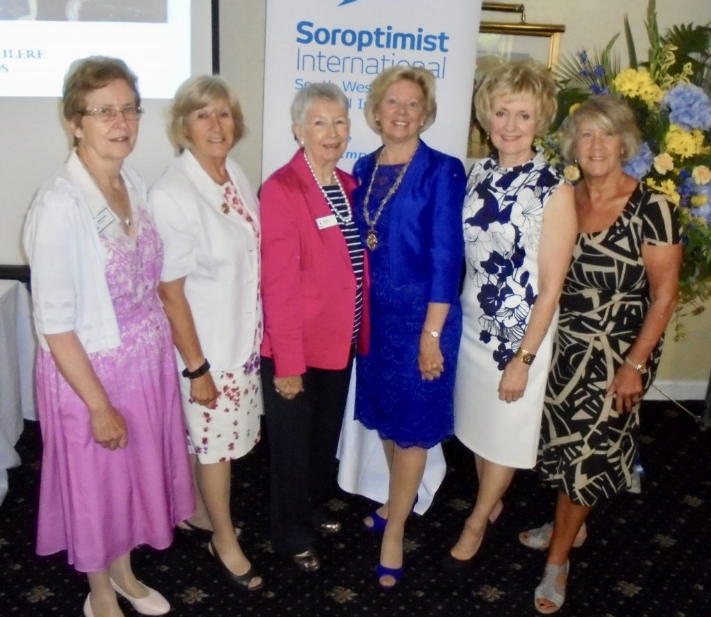 Line up of Regional Presidents! (L-R) Audrey Taylor, Jackie Mosedale, Sue Perry, Daphne Dowsing, Kay Turner and Wendy Plaice.  Daphne has been President 2016-18 and the others will share Presidency during 2018-19.