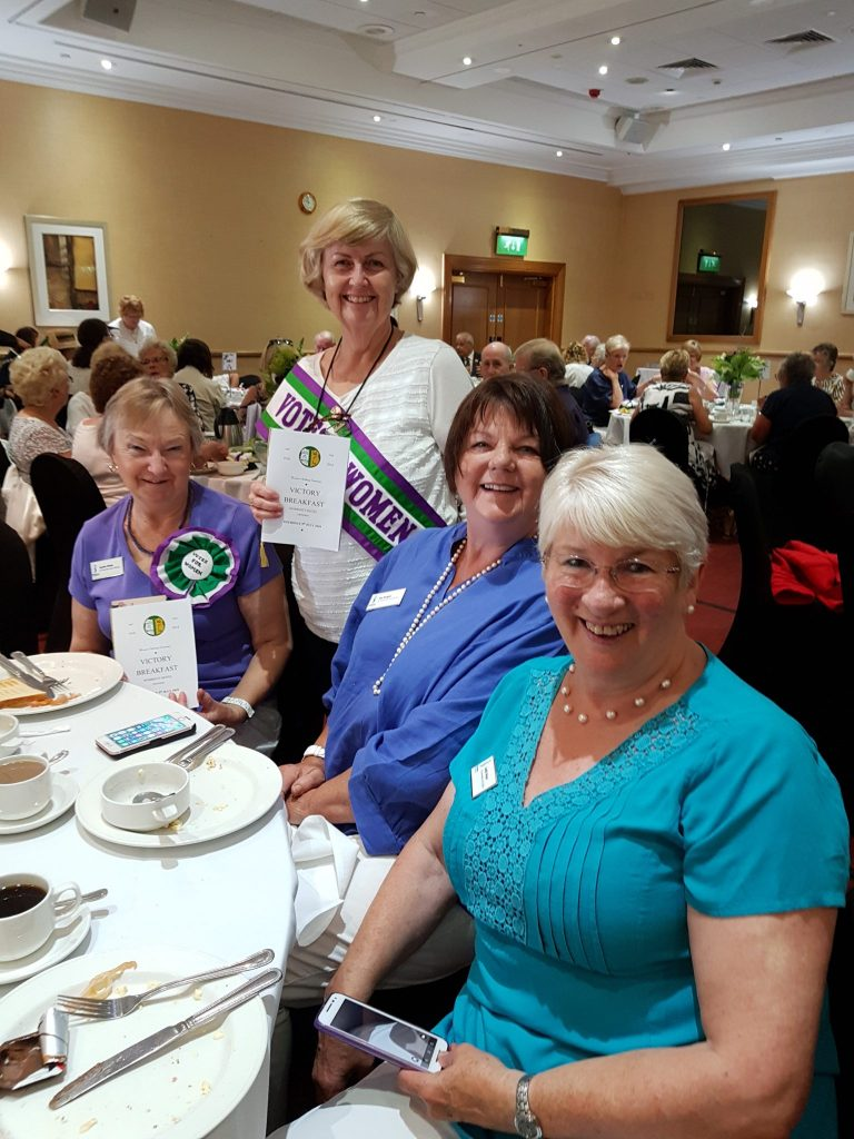 Soroptimists Jackie Webb, Valerie Nuttall, Pat Wright and Judith Wood attending a Victory Breakfast to celebrate the 90th Anniversary of full voting rights for women. This replicated a victory breakfast at London's Cecil Hotel on the exact same day in 1928.