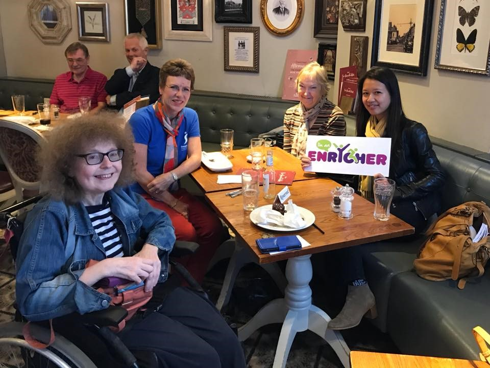 SI Swindon members joining members of Enrych, a charity which has been set up to enrich the social life of its disabled members, at a social lunch in Old Town. Great fun was had by all.