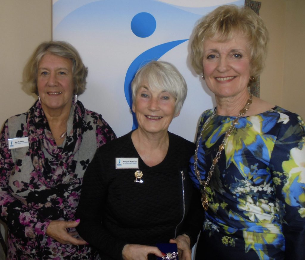 President Elect Margaret Parkinson of SI Plymouth flanked by Joint Presidents (Nov 18-Feb 19) Wendy Plaice and Kay Turner.