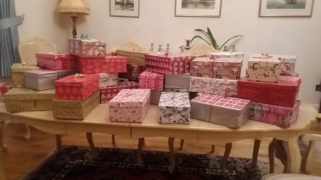 Some of the 50 Christmas shoe boxes made up by SI Swindon for the Nelson Trust Women's Centre in Gloucester.