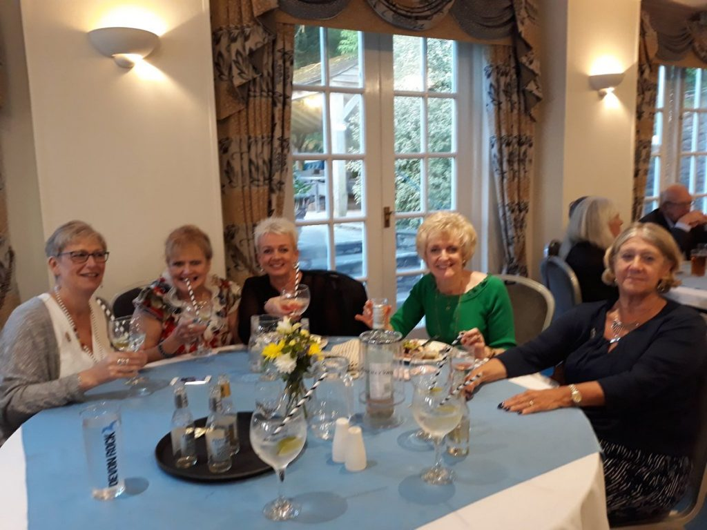 Members of St Austell & District enjoying the hog roast at the Berry Head Hotel on Saturday night.