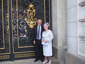 Just about to take tea at Buckingham Palace Our member Sheila Naylor and her husband Peter attended a garden party recently at Buckingham Palace