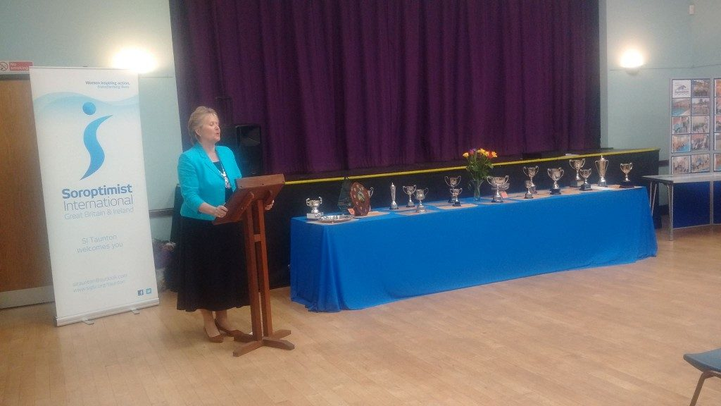 Jane Fitzgerald, Joint President of SI Taunton, welcoming everyone to the Presentation evening.