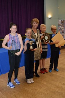CT2 from Taunton Deane Swimming Club received 3 trophies for the team swimming the 2nd highest number of laps, the under 13s and the under 18s swimming the most laps (85)