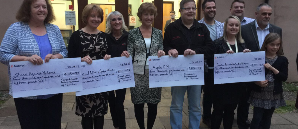 All the charities with their cheques