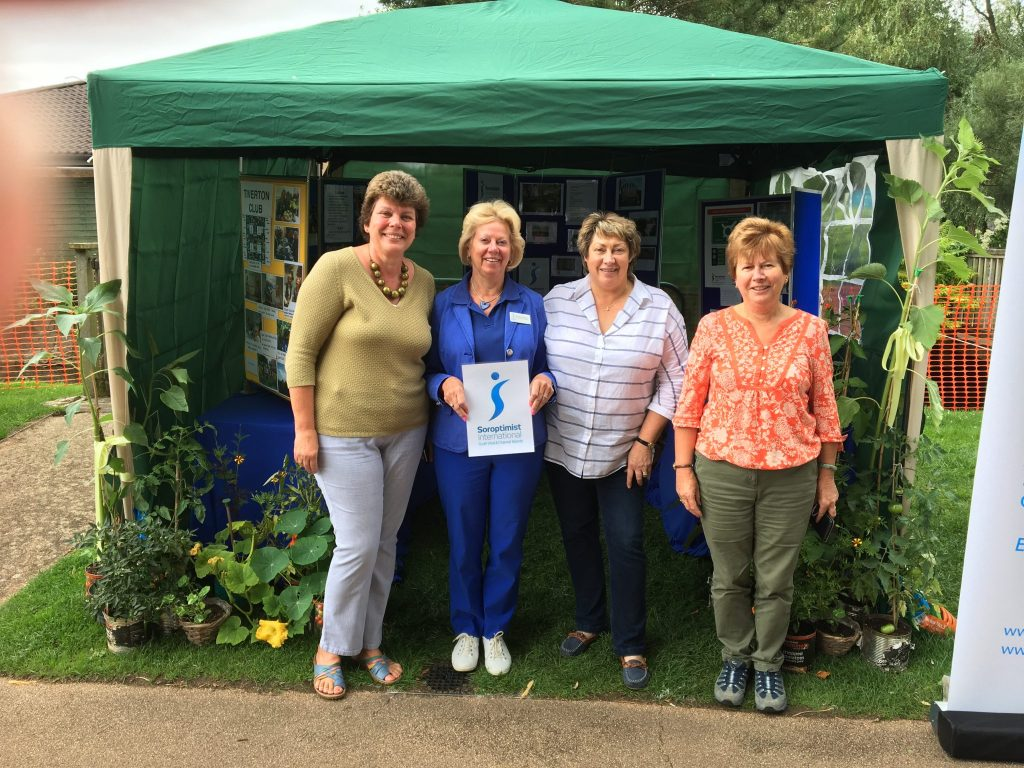 SI Taunton members Sue, Sally and Christine with Regional President Daphne at the Soroptimist Meru Garden stand, Taunton Flower Show August 2017