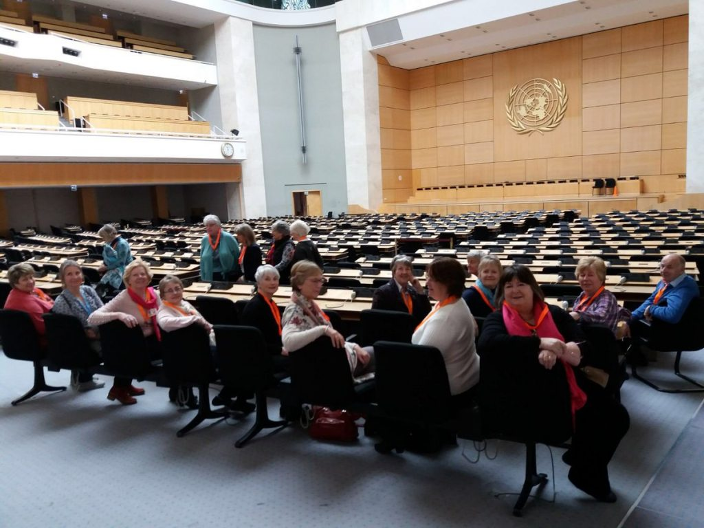 Members of SI Taunton and other Clubs of the South West & Channel Islands Region in the Assembly Hall of UN Geneva