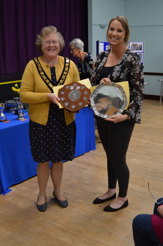 Vicky Rayson from the Taunton Deane Swimming Club Team Old Timers receives the Western Power Distribution Shield for the 2nd highest number of laps swum - 97.  She also receives the Soroptimist Plate on behalf of the TDSC Sea Squad Reviews who swam the highest number of laps a fantastic 107 laps