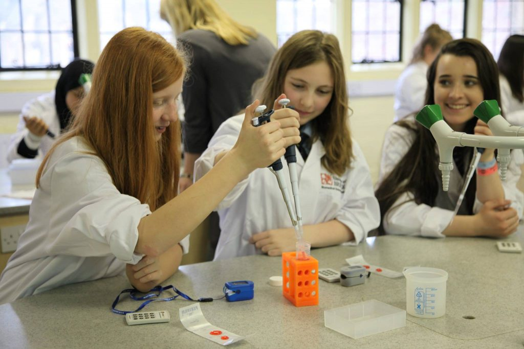 Scene from our 4th Skirting Science Day held at Taunton School in April 2018.  Girls from schools in the Taunton area attend three interactive Workshops to encourage them to think about STEM subjects and careers.