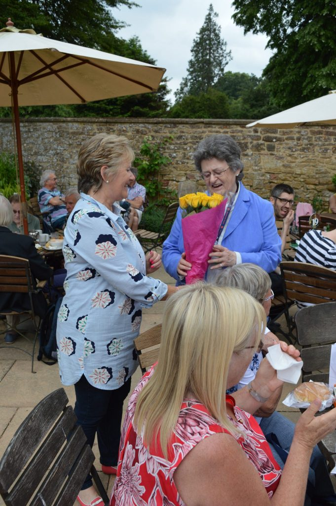 Liz Noon receives a thank you for kindly organising the trip to Montacute and for being one of our guides