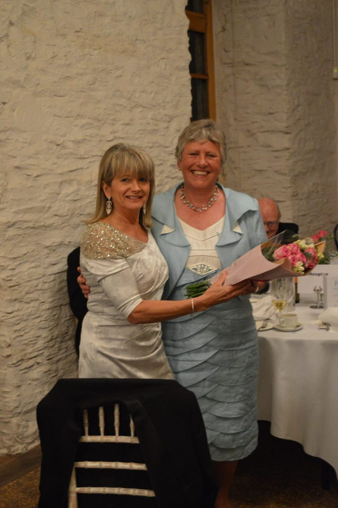 Jane Barrie OBE receives flowers for all her help in the arrangements for the weekend