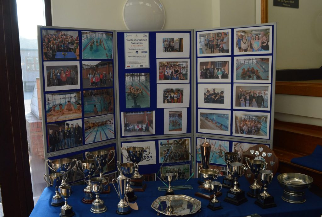 The trophy table and photos from previous years.